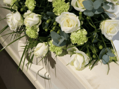 Coffin and Lillies